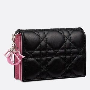 CHRISTIAN DIOR Cardholder In Cannage Lambskin Pink